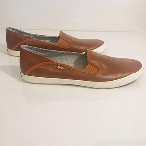 KEDS Crashback Leather Cognac Brown Slip-On 9.5